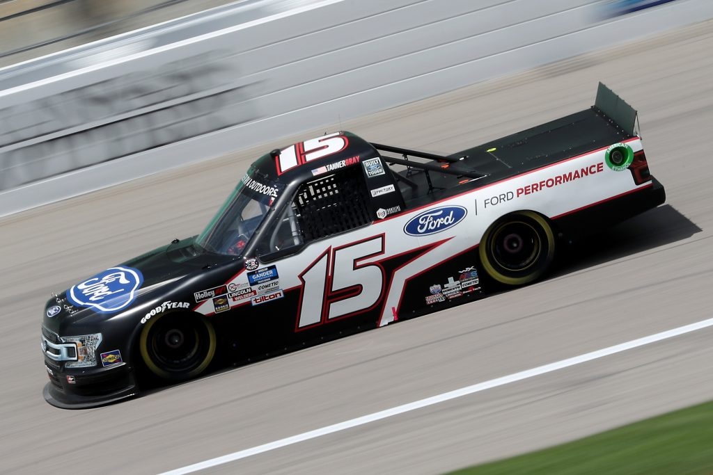 KANSAS CITY, KANSAS - JULY 25: Tanner Gray, driver of the #15 Ford/Ford Performance Ford, drives during the NASCAR Gander RV & Outdoors Truck Series e.p.t 200 at Kansas Speedway on July 25, 2020 in Kansas City, Kansas. (Photo by Jamie Squire/Getty Images) | Getty Images