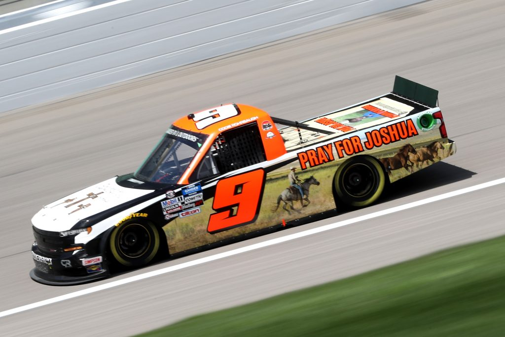 KANSAS CITY, KANSAS - JULY 25: Codie Rohrbaugh, driver of the #9 Grant County Mulch Chevrolet, drives during the NASCAR Gander RV & Outdoors Truck Series e.p.t 200 at Kansas Speedway on July 25, 2020 in Kansas City, Kansas. (Photo by Jamie Squire/Getty Images) | Getty Images