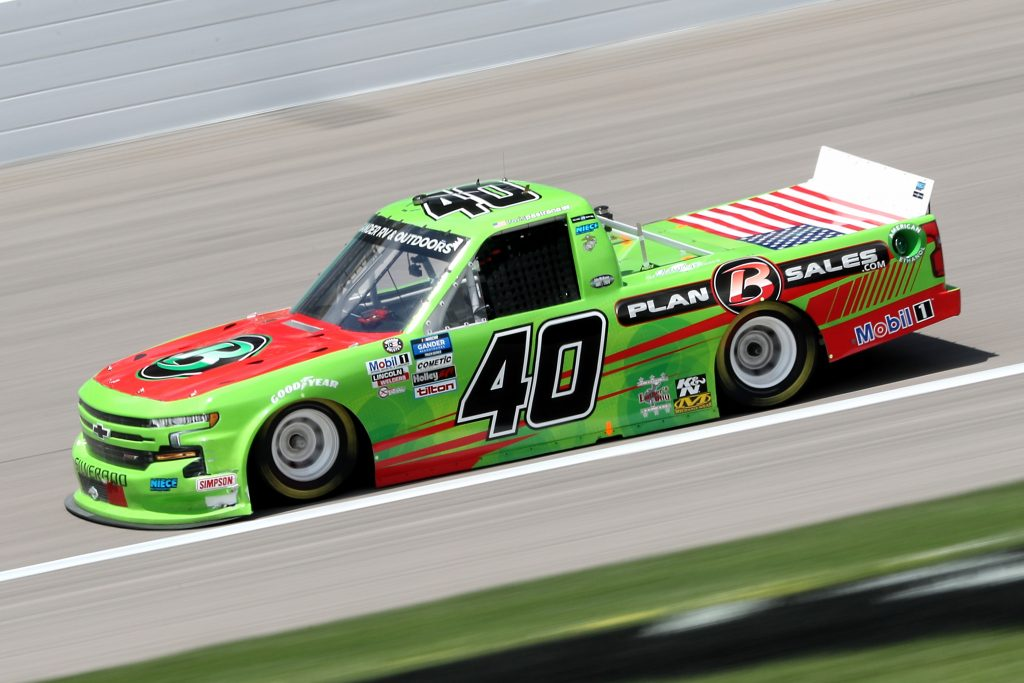 KANSAS CITY, KANSAS - JULY 25: Travis Pastrana, driver of the #40 Plan B Sales Chevrolet, drives during the NASCAR Gander RV & Outdoors Truck Series e.p.t 200 at Kansas Speedway on July 25, 2020 in Kansas City, Kansas. (Photo by Jamie Squire/Getty Images) | Getty Images