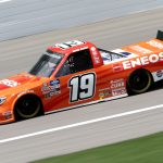 KANSAS CITY, KANSAS - JULY 25: Derek Kraus, driver of the #19 ENEOS Toyota, drives during the NASCAR Gander RV & Outdoors Truck Series e.p.t 200 at Kansas Speedway on July 25, 2020 in Kansas City, Kansas. (Photo by Jamie Squire/Getty Images)   Getty Images