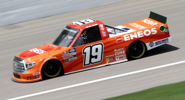 KANSAS CITY, KANSAS - JULY 25: Derek Kraus, driver of the #19 ENEOS Toyota, drives during the NASCAR Gander RV & Outdoors Truck Series e.p.t 200 at Kansas Speedway on July 25, 2020 in Kansas City, Kansas. (Photo by Jamie Squire/Getty Images) | Getty Images