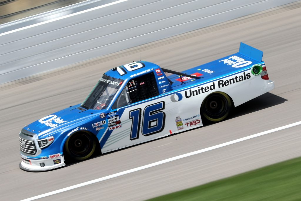 KANSAS CITY, KANSAS - JULY 25: Austin Hill, driver of the #16 United Rentals Toyota, drives during the NASCAR Gander RV & Outdoors Truck Series e.p.t 200 at Kansas Speedway on July 25, 2020 in Kansas City, Kansas. (Photo by Jamie Squire/Getty Images) | Getty Images