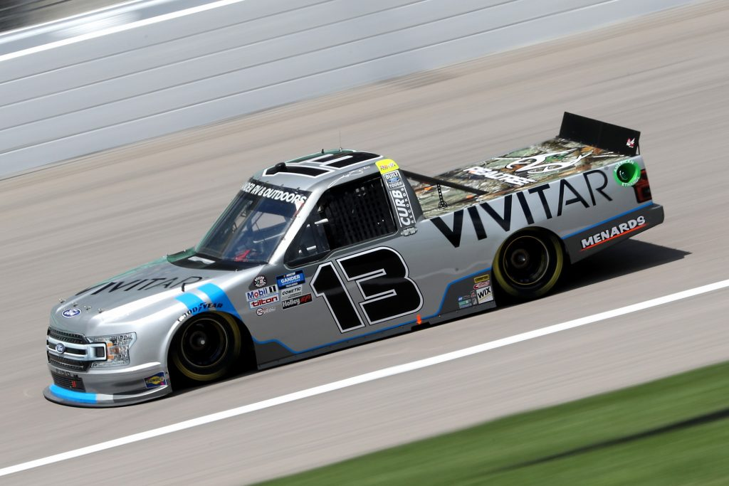KANSAS CITY, KANSAS - JULY 25: Johnny Sauter, driver of the #13 Vivitar Ford, drives during the NASCAR Gander RV & Outdoors Truck Series e.p.t 200 at Kansas Speedway on July 25, 2020 in Kansas City, Kansas. (Photo by Jamie Squire/Getty Images) | Getty Images