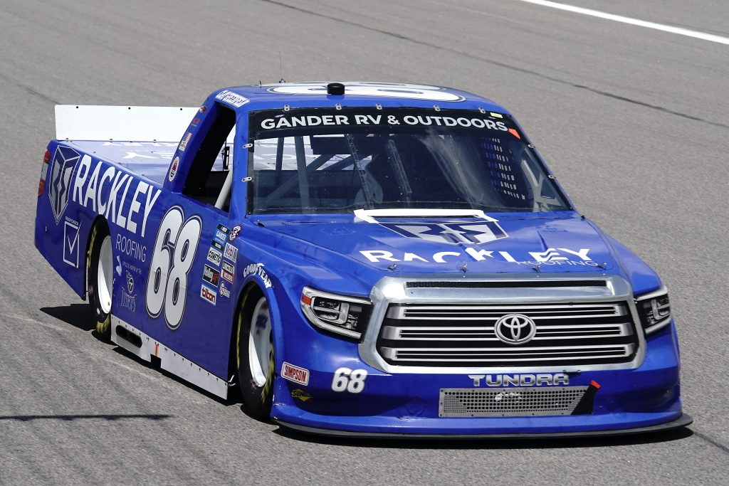 KANSAS CITY, KANSAS - JULY 25: Clay Greenfield, driver of the #68 Rackley Roofing Toyota, drives during the NASCAR Gander RV & Outdoors Truck Series e.p.t 200 at Kansas Speedway on July 25, 2020 in Kansas City, Kansas. (Photo by Kyle Rivas/Getty Images) | Getty Images