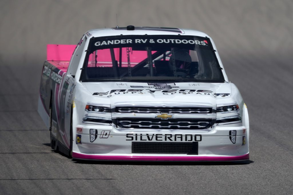 KANSAS CITY, KANSAS - JULY 25: Jennifer Jo Cobb, driver of the #10 Fastener Supply Company Chevrolet, drives during the NASCAR Gander RV & Outdoors Truck Series e.p.t 200 at Kansas Speedway on July 25, 2020 in Kansas City, Kansas. (Photo by Kyle Rivas/Getty Images) | Getty Images