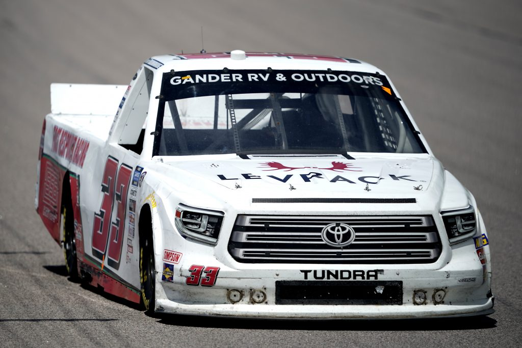 KANSAS CITY, KANSAS - JULY 25: Kevin Donahue, driver of the #33 First Responder Racing Toyota, drives during the NASCAR Gander RV & Outdoors Truck Series e.p.t 200 at Kansas Speedway on July 25, 2020 in Kansas City, Kansas. (Photo by Kyle Rivas/Getty Images) | Getty Images