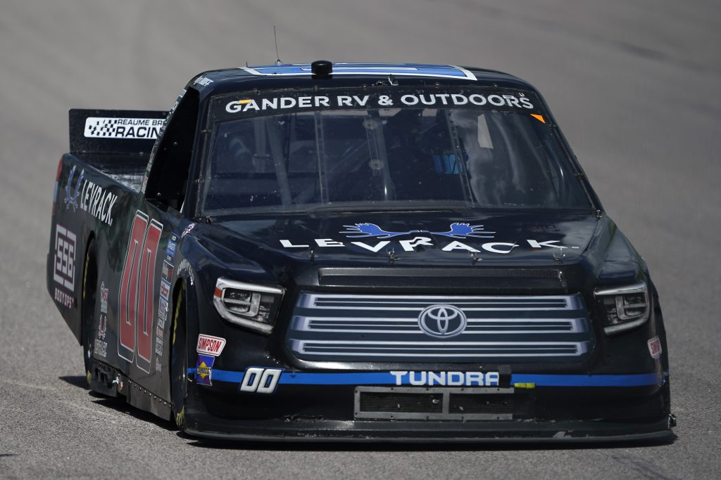 KANSAS CITY, KANSAS - JULY 25: Ryan Huff, driver of the #00 556 Body Ops Toyota, drives during the NASCAR Gander RV & Outdoors Truck Series e.p.t 200 at Kansas Speedway on July 25, 2020 in Kansas City, Kansas. (Photo by Kyle Rivas/Getty Images) | Getty Images