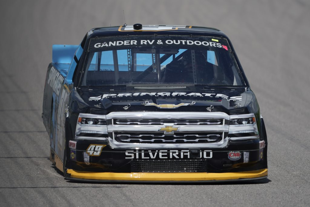 KANSAS CITY, KANSAS - JULY 25: Ray Ciccarelli, driver of the #49 CMI Motorsports Chevrolet, drives during the NASCAR Gander RV & Outdoors Truck Series e.p.t 200 at Kansas Speedway on July 25, 2020 in Kansas City, Kansas. (Photo by Kyle Rivas/Getty Images) | Getty Images
