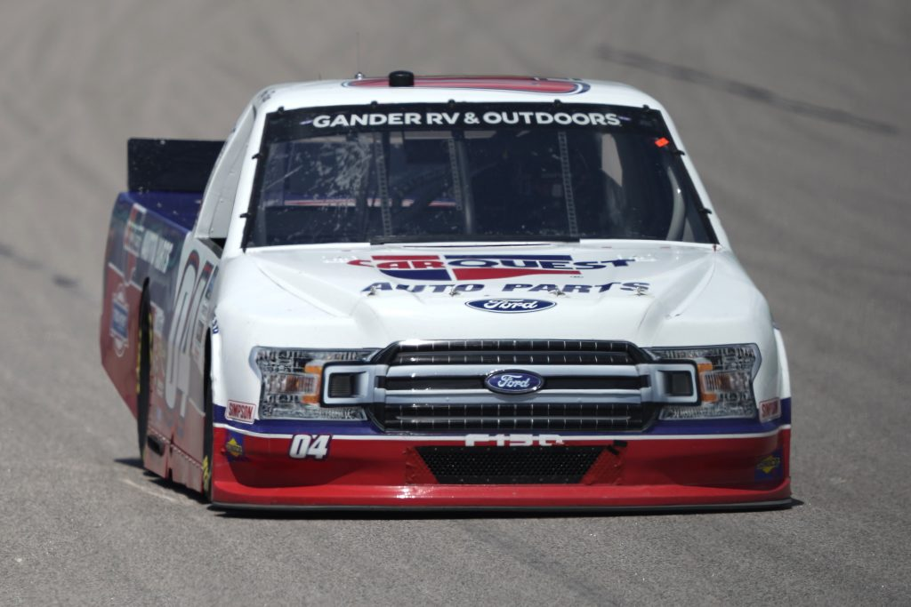 KANSAS CITY, KANSAS - JULY 25: Cory Roper, driver of the #04 CarQuest Ford, drives during the NASCAR Gander RV & Outdoors Truck Series e.p.t 200 at Kansas Speedway on July 25, 2020 in Kansas City, Kansas. (Photo by Kyle Rivas/Getty Images) | Getty Images
