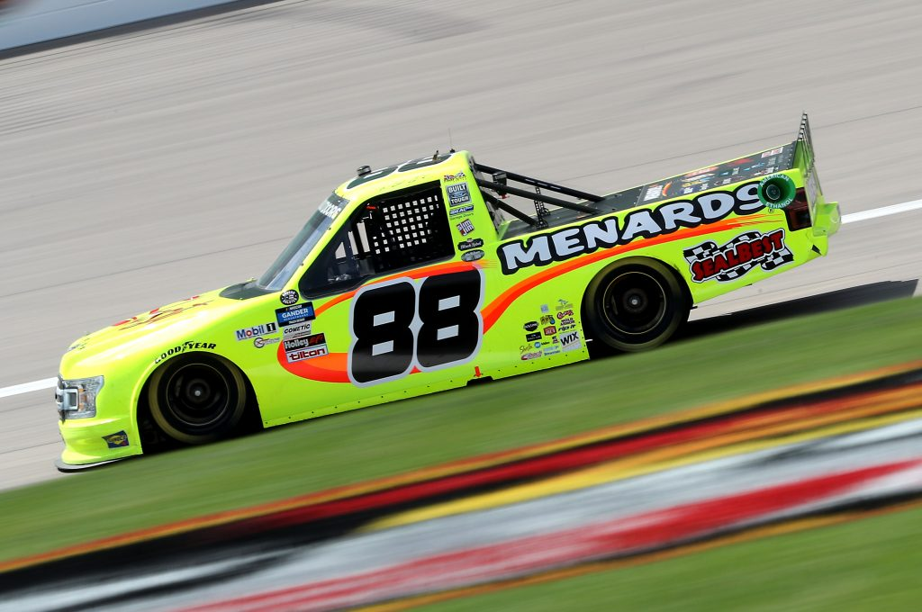 KANSAS CITY, KANSAS - JULY 25: Matt Crafton, driver of the #88 Ford, drives during the NASCAR Gander RV & Outdoors Truck Series e.p.t 200 at Kansas Speedway on July 25, 2020 in Kansas City, Kansas. (Photo by Jamie Squire/Getty Images) | Getty Images