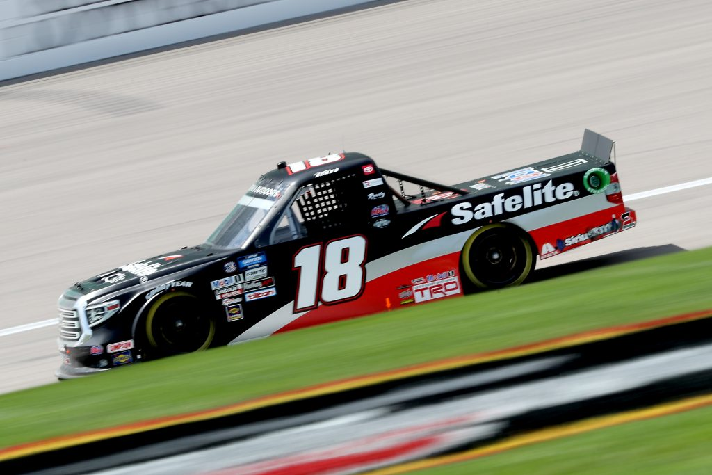 KANSAS CITY, KANSAS - JULY 25: Christian Eckes, driver of the #18 Safelite AutoGlass Toyota, drives during the NASCAR Gander RV & Outdoors Truck Series e.p.t 200 at Kansas Speedway on July 25, 2020 in Kansas City, Kansas. (Photo by Jamie Squire/Getty Images) | Getty Images
