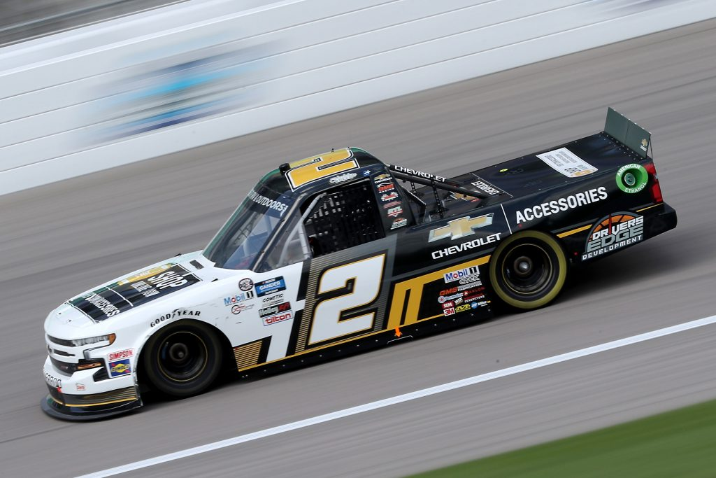 KANSAS CITY, KANSAS - JULY 25: Sheldon Creed, driver of the #2 Chevy Accessories Chevrolet, drives during the NASCAR Gander RV & Outdoors Truck Series e.p.t 200 at Kansas Speedway on July 25, 2020 in Kansas City, Kansas. (Photo by Jamie Squire/Getty Images) | Getty Images