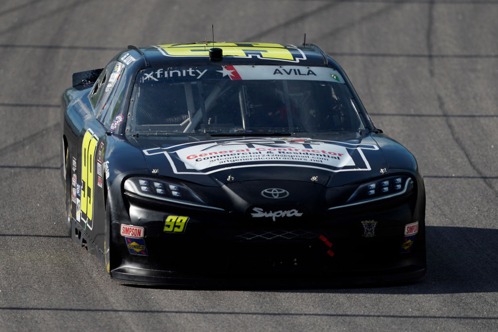 KANSAS CITY, KANSAS - JULY 25: Ja Junior Avila, driver of the #99 Art General Contractor Toyota, drives during the NASCAR Xfinity Series Kansas Lottery 250 at Kansas Speedway on July 25, 2020 in Kansas City, Kansas. (Photo by Kyle Rivas/Getty Images) | Getty Images