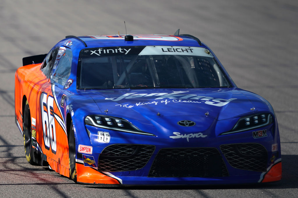 KANSAS CITY, KANSAS - JULY 25: Stephen Leicht, driver of the #66 JANIKING Toyota, drives during the NASCAR Xfinity Series Kansas Lottery 250 at Kansas Speedway on July 25, 2020 in Kansas City, Kansas. (Photo by Kyle Rivas/Getty Images) | Getty Images