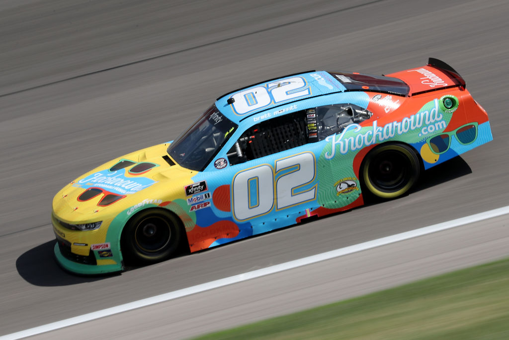 KANSAS CITY, KANSAS - JULY 25: Brett Moffitt, driver of the #02 KNOCKAROUND Chevrolet, drives during the NASCAR Xfinity Series Kansas Lottery 250 at Kansas Speedway on July 25, 2020 in Kansas City, Kansas. (Photo by Jamie Squire/Getty Images) | Getty Images
