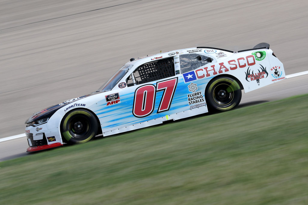 KANSAS CITY, KANSAS - JULY 25: David Starr, driver of the #07 JACOB Construction Chevrolet, drives during the NASCAR Xfinity Series Kansas Lottery 250 at Kansas Speedway on July 25, 2020 in Kansas City, Kansas. (Photo by Jamie Squire/Getty Images) | Getty Images