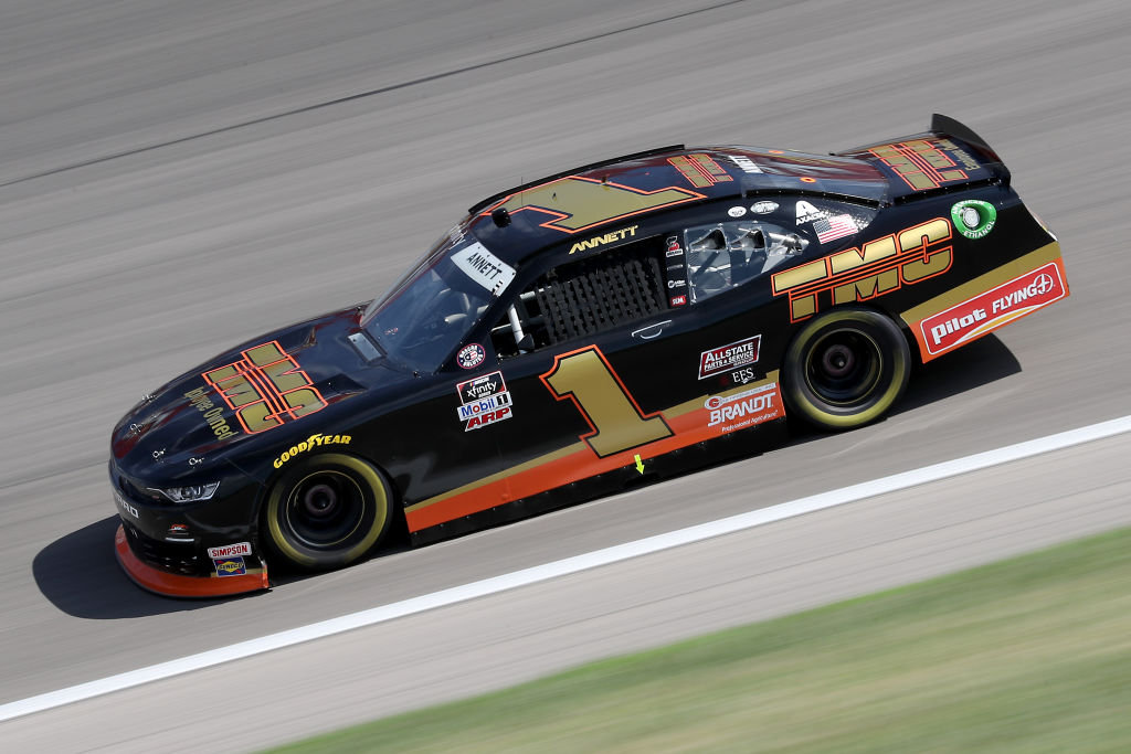 KANSAS CITY, KANSAS - JULY 25: Michael Annett, driver of the #1 TMC Chevrolet, drives during the NASCAR Xfinity Series Kansas Lottery 250 at Kansas Speedway on July 25, 2020 in Kansas City, Kansas. (Photo by Jamie Squire/Getty Images) | Getty Images