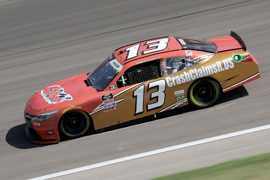 KANSAS CITY, KANSAS - JULY 25: Chad Finchum, driver of the #13 Toyota, drives during the NASCAR Xfinity Series Kansas Lottery 250 at Kansas Speedway on July 25, 2020 in Kansas City, Kansas. (Photo by Jamie Squire/Getty Images) | Getty Images