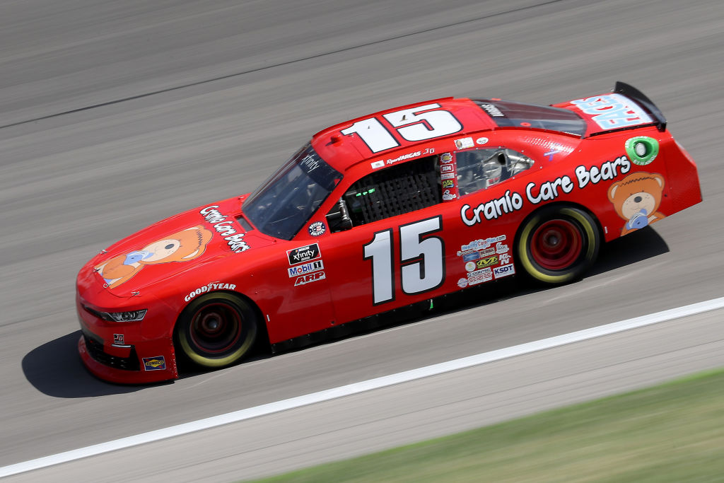 KANSAS CITY, KANSAS - JULY 25: Ryan Vargas, driver of the #15 Cranio Care Bears/FACES Chevrolet, drives during the NASCAR Xfinity Series Kansas Lottery 250 at Kansas Speedway on July 25, 2020 in Kansas City, Kansas. (Photo by Jamie Squire/Getty Images)   Getty Images