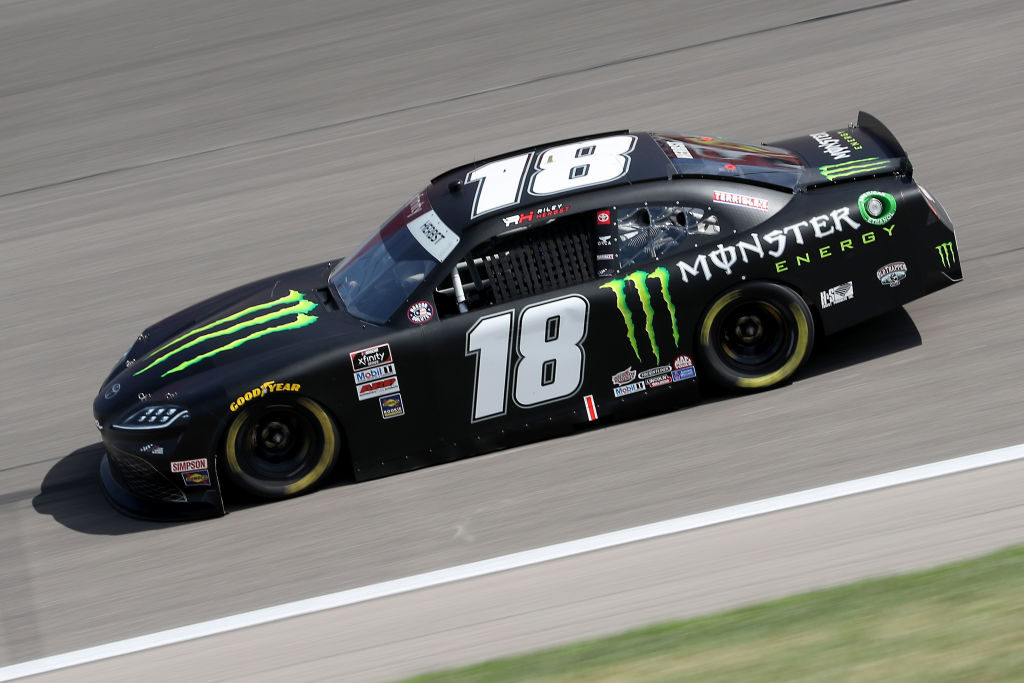KANSAS CITY, KANSAS - JULY 25: Riley Herbst, driver of the #18 Monster Energy Toyota, drives during the NASCAR Xfinity Series Kansas Lottery 250 at Kansas Speedway on July 25, 2020 in Kansas City, Kansas. (Photo by Jamie Squire/Getty Images) | Getty Images