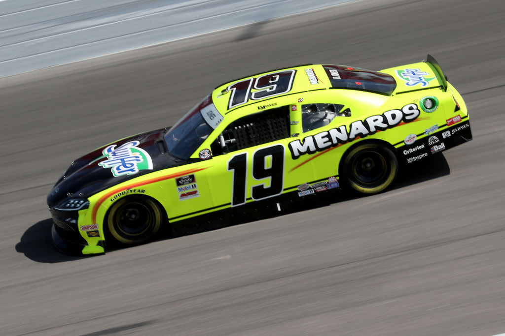 KANSAS CITY, KANSAS - JULY 25: Brandon Jones, driver of the #19 Menards/Swiffer Toyota, drives during the NASCAR Xfinity Series Kansas Lottery 250 at Kansas Speedway on July 25, 2020 in Kansas City, Kansas. (Photo by Jamie Squire/Getty Images) | Getty Images