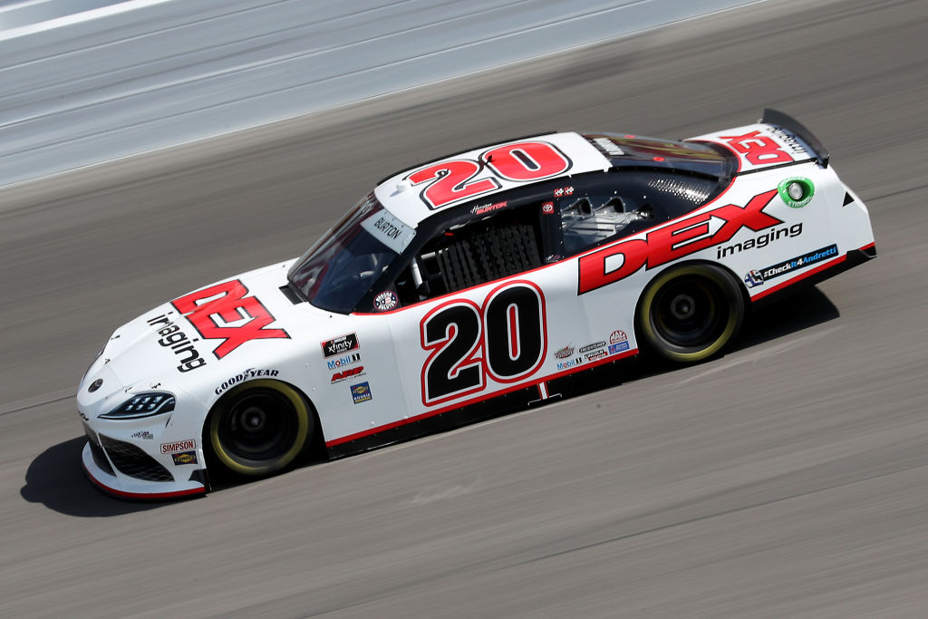 KANSAS CITY, KANSAS - JULY 25: Harrison Burton, driver of the #20 Morton Buildings/DEX Imaging Toyota, drives during the NASCAR Xfinity Series Kansas Lottery 250 at Kansas Speedway on July 25, 2020 in Kansas City, Kansas. (Photo by Jamie Squire/Getty Images) | Getty Images