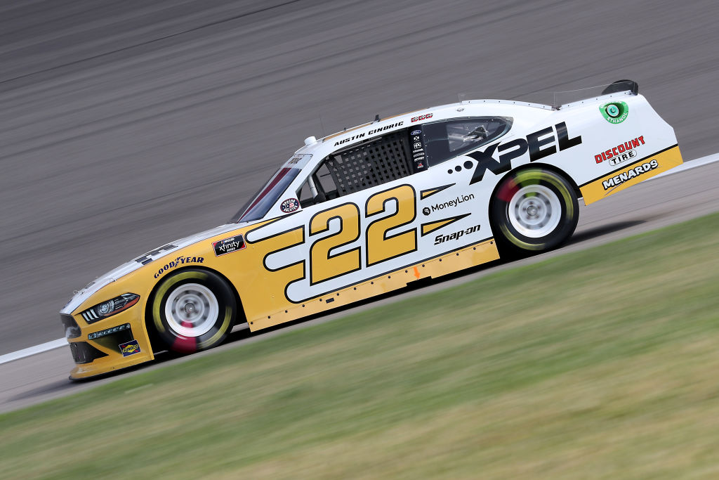 KANSAS CITY, KANSAS - JULY 25: Austin Cindric, driver of the #22 XPEL Ford, drives during the NASCAR Xfinity Series Kansas Lottery 250 at Kansas Speedway on July 25, 2020 in Kansas City, Kansas. (Photo by Jamie Squire/Getty Images)   Getty Images