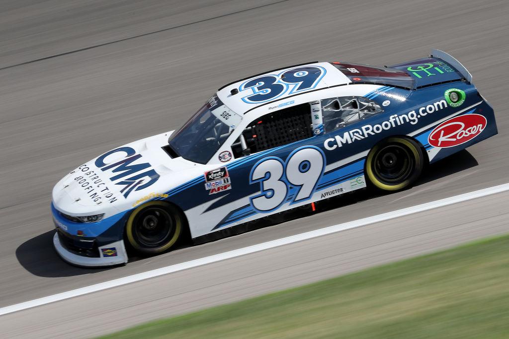 KANSAS CITY, KANSAS - JULY 25: Ryan Sieg, driver of the #39 CMRRoofing.com Chevrolet, drives during the NASCAR Xfinity Series Kansas Lottery 250 at Kansas Speedway on July 25, 2020 in Kansas City, Kansas. (Photo by Jamie Squire/Getty Images) | Getty Images