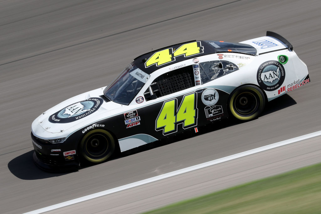 KANSAS CITY, KANSAS - JULY 25: Tommy Joe Martins, driver of the #44 AAN Adjusters Chevrolet, drives during the NASCAR Xfinity Series Kansas Lottery 250 at Kansas Speedway on July 25, 2020 in Kansas City, Kansas. (Photo by Jamie Squire/Getty Images) | Getty Images