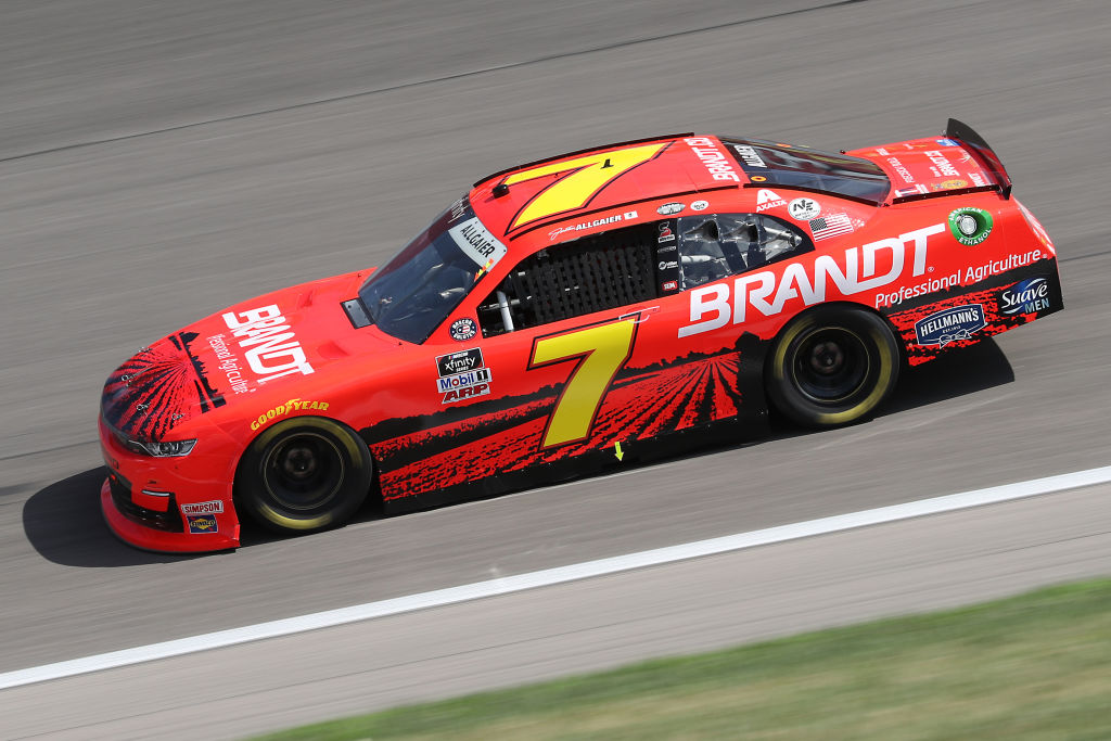KANSAS CITY, KANSAS - JULY 25: Justin Allgaier, driver of the #7 BRANDT Chevrolet, drives during the NASCAR Xfinity Series Kansas Lottery 250 at Kansas Speedway on July 25, 2020 in Kansas City, Kansas. (Photo by Jamie Squire/Getty Images) | Getty Images