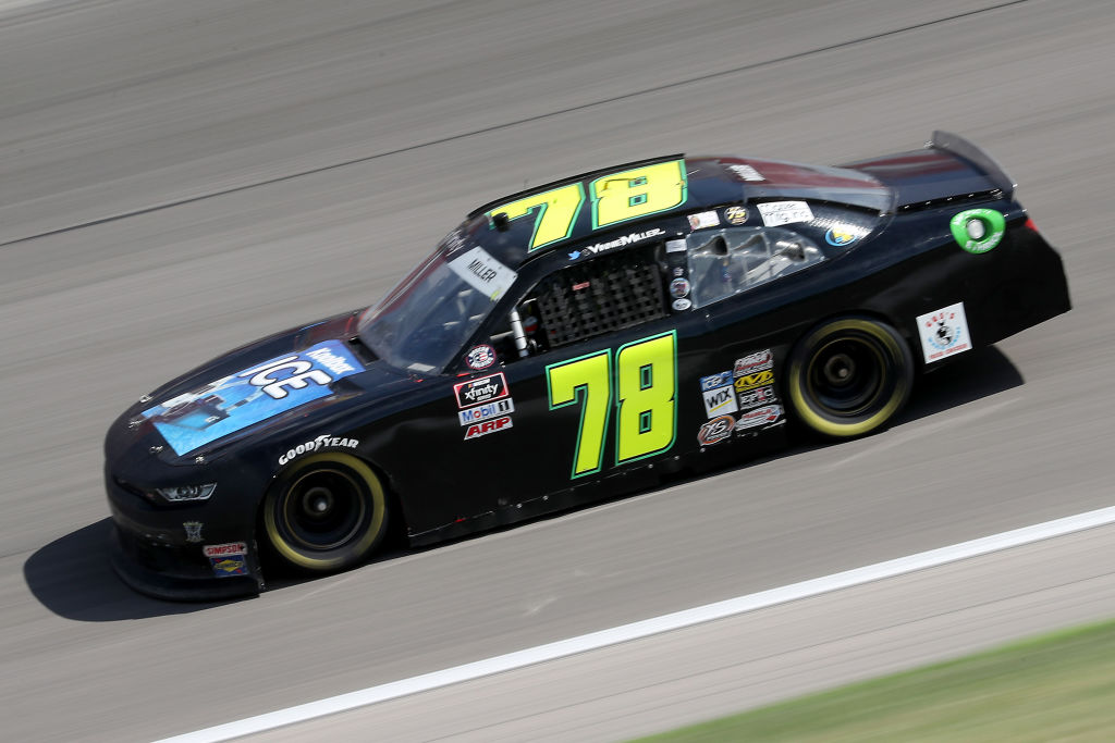 KANSAS CITY, KANSAS - JULY 25: Vinnie Miller, driver of the #78 Koolbox Chevrolet, drives during the NASCAR Xfinity Series Kansas Lottery 250 at Kansas Speedway on July 25, 2020 in Kansas City, Kansas. (Photo by Jamie Squire/Getty Images) | Getty Images