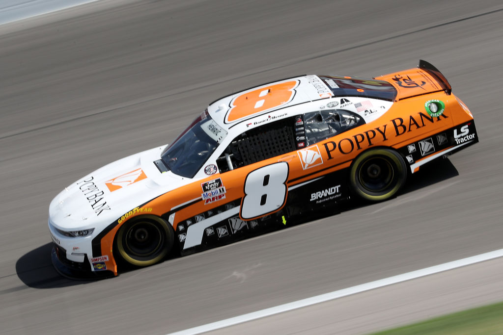 KANSAS CITY, KANSAS - JULY 25: Daniel Hemric, driver of the #8 Poppy Bank Chevrolet, drives during the NASCAR Xfinity Series Kansas Lottery 250 at Kansas Speedway on July 25, 2020 in Kansas City, Kansas. (Photo by Jamie Squire/Getty Images) | Getty Images