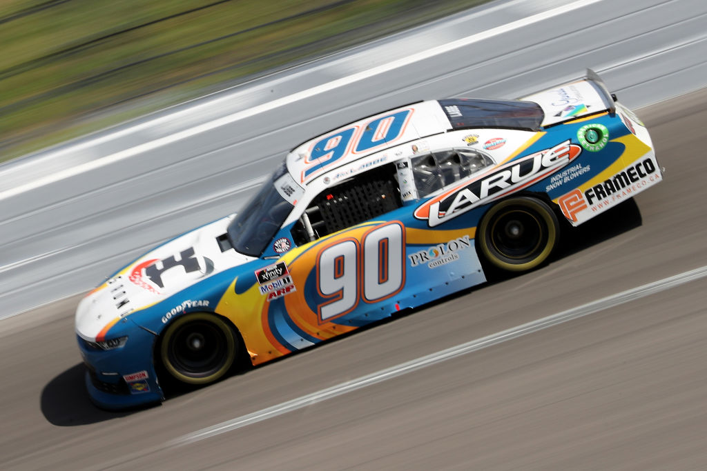 KANSAS CITY, KANSAS - JULY 25: Alex Labbe, driver of the #90 Bassett Gutters and More Chevrolet, drives during the NASCAR Xfinity Series Kansas Lottery 250 at Kansas Speedway on July 25, 2020 in Kansas City, Kansas. (Photo by Jamie Squire/Getty Images) | Getty Images