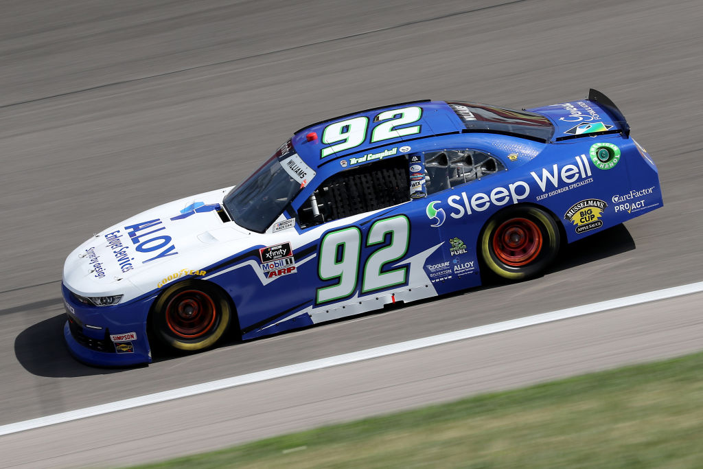 KANSAS CITY, KANSAS - JULY 25: Josh Williams, driver of the #92 Sleep Well/Verve/Alloy Chevrolet, drives during the NASCAR Xfinity Series Kansas Lottery 250 at Kansas Speedway on July 25, 2020 in Kansas City, Kansas. (Photo by Jamie Squire/Getty Images) | Getty Images