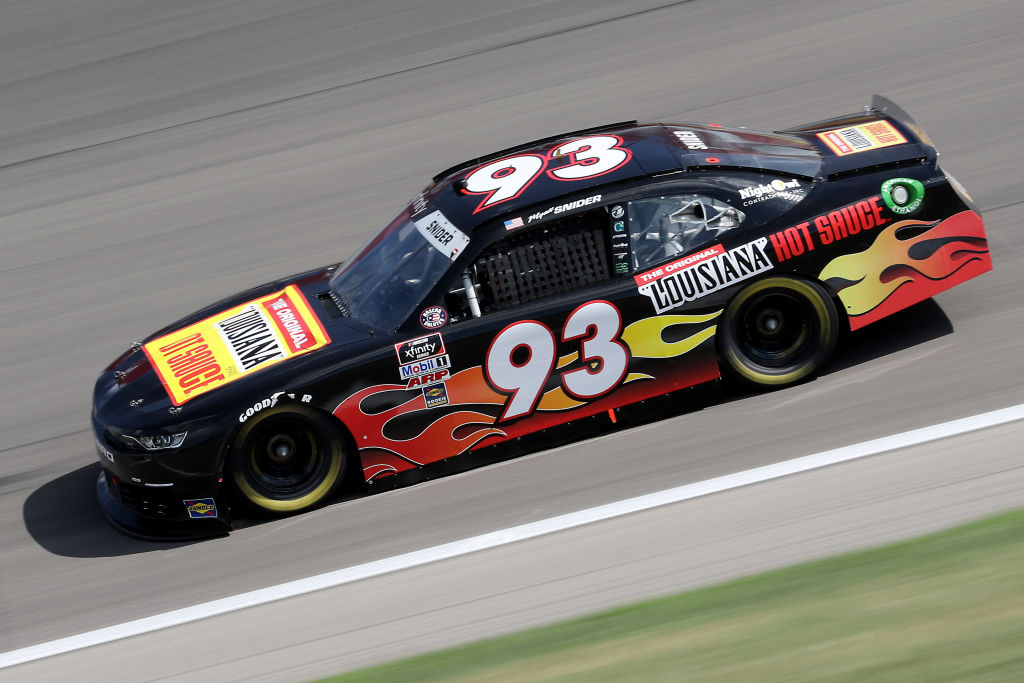 KANSAS CITY, KANSAS - JULY 25: Myatt Snider, driver of the #93 The Original Louisiana Hot Sauce Chevrolet, drives during the NASCAR Xfinity Series Kansas Lottery 250 at Kansas Speedway on July 25, 2020 in Kansas City, Kansas. (Photo by Jamie Squire/Getty Images) | Getty Images