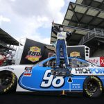 INDIANAPOLIS, INDIANA - JULY 04:  Chase Briscoe, driver of the #98 Highpoint.com Ford, celebrates in Victory Lane after winning the the NASCAR Xfinity Series Pennzoil 150 at the Brickyard at Indianapolis Motor Speedway on July 04, 2020 in Indianapolis, Indiana. (Photo by Chris Graythen/Getty Images) | Getty Images
