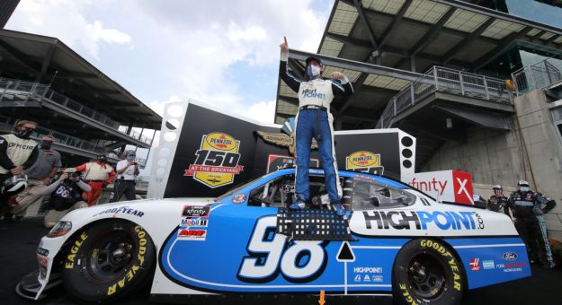 INDIANAPOLIS, INDIANA - JULY 04:  Chase Briscoe, driver of the #98 Highpoint.com Ford, celebrates in Victory Lane after winning the the NASCAR Xfinity Series Pennzoil 150 at the Brickyard at Indianapolis Motor Speedway on July 04, 2020 in Indianapolis, Indiana. (Photo by Chris Graythen/Getty Images)   Getty Images