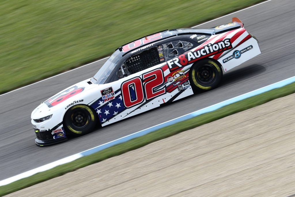 INDIANAPOLIS, INDIANA - JULY 03: Brett Moffitt, driver of the #02 Fr8 Auctions Chevrolet, drives during practice for the NASCAR Xfinity Series Pennzoil 150 at the Brickyard at Indianapolis Motor Speedway on July 03, 2020 in Indianapolis, Indiana. (Photo by Jamie Squire/Getty Images)   Getty Images
