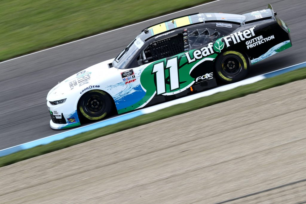 INDIANAPOLIS, INDIANA - JULY 03: Justin Haley, driver of the #11 LeafFilter Gutter Protection Chevrolet, drives during practice for the NASCAR Xfinity Series Pennzoil 150 at the Brickyard at Indianapolis Motor Speedway on July 03, 2020 in Indianapolis, Indiana. (Photo by Jamie Squire/Getty Images)   Getty Images