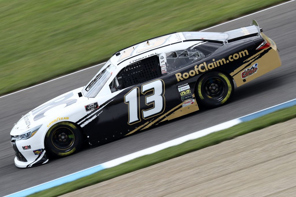 INDIANAPOLIS, INDIANA - JULY 03: Timmy Hill, driver of the #13 ROOFCLAIM.COM Toyota, races during practice for the NASCAR Xfinity Series Pennzoil 150 at the Brickyard at Indianapolis Motor Speedway on July 03, 2020 in Indianapolis, Indiana. (Photo by Jamie Squire/Getty Images) | Getty Images