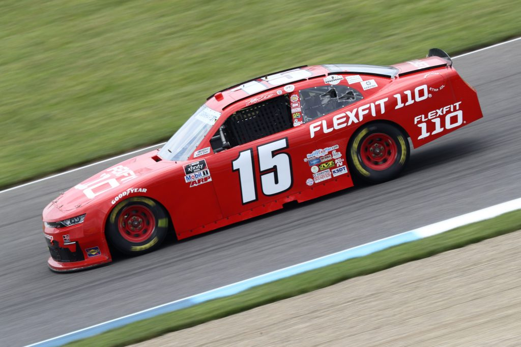 INDIANAPOLIS, INDIANA - JULY 03: Jeffrey Earnhardt, driver of the #15 FlexFit Chevrolet, drives during practice for the NASCAR Xfinity Series Pennzoil 150 at the Brickyard at Indianapolis Motor Speedway on July 03, 2020 in Indianapolis, Indiana. (Photo by Jamie Squire/Getty Images)   Getty Images