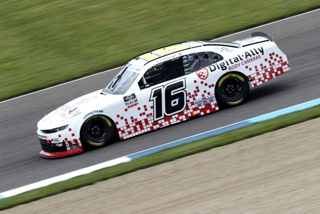 INDIANAPOLIS, INDIANA - JULY 03: AJ Allmendinger, driver of the #16 Digital Ally Body Cameras Chevrolet, drives during practice for the NASCAR Xfinity Series Pennzoil 150 at the Brickyard at Indianapolis Motor Speedway on July 03, 2020 in Indianapolis, Indiana. (Photo by Jamie Squire/Getty Images) | Getty Images