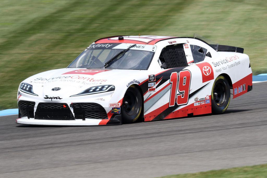 INDIANAPOLIS, INDIANA - JULY 03: Brandon Jones, driver of the #19 Toyota Service Centers Toyota, races during practice for the NASCAR Xfinity Series Pennzoil 150 at the Brickyard at Indianapolis Motor Speedway on July 03, 2020 in Indianapolis, Indiana. (Photo by Jamie Squire/Getty Images)   Getty Images