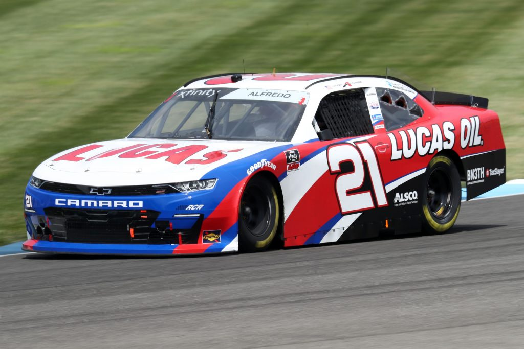 INDIANAPOLIS, INDIANA - JULY 03: Anthony Alfredo, driver of the #21 Lucas Oil Chevrolet, races during practice for the NASCAR Xfinity Series Pennzoil 150 at the Brickyard at Indianapolis Motor Speedway on July 03, 2020 in Indianapolis, Indiana. (Photo by Jamie Squire/Getty Images) | Getty Images