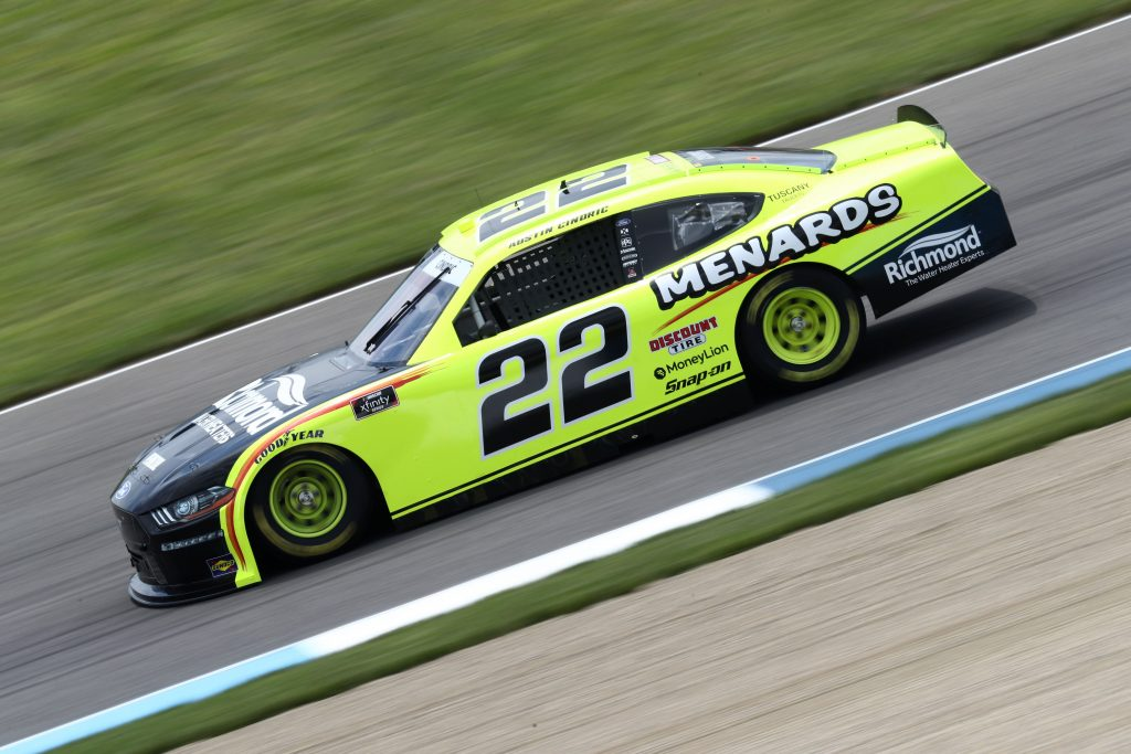 INDIANAPOLIS, INDIANA - JULY 03: Austin Cindric, driver of the #22 Menards/Richmond Ford, drives during practice for the NASCAR Xfinity Series Pennzoil 150 at the Brickyard at Indianapolis Motor Speedway on July 03, 2020 in Indianapolis, Indiana. (Photo by Jamie Squire/Getty Images)   Getty Images