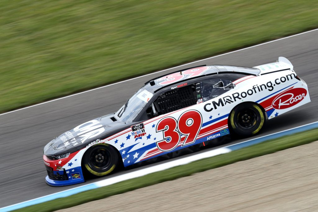 INDIANAPOLIS, INDIANA - JULY 03: Ryan Sieg, driver of the #39 CMRRoofing.com Chevrolet, drives during practice for the NASCAR Xfinity Series Pennzoil 150 at the Brickyard at Indianapolis Motor Speedway on July 03, 2020 in Indianapolis, Indiana. (Photo by Jamie Squire/Getty Images)   Getty Images