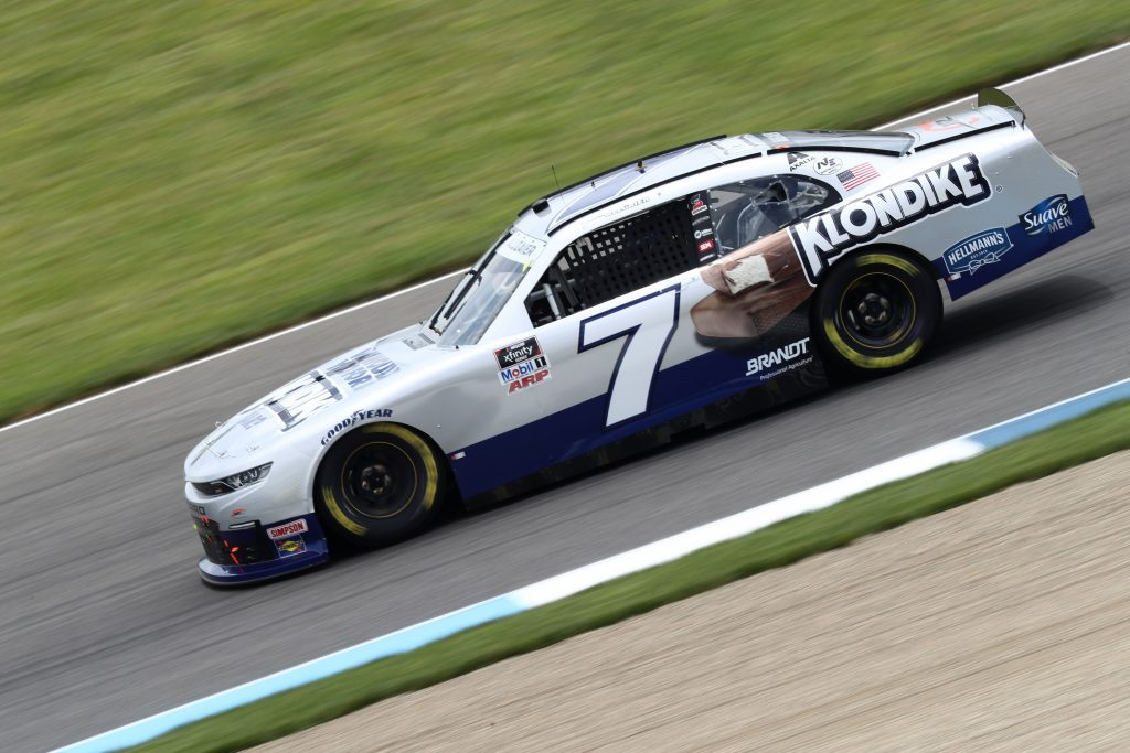 INDIANAPOLIS, INDIANA - JULY 03: Justin Allgaier, driver of the #7 Klondike Chevrolet, drives during practice for the NASCAR Xfinity Series Pennzoil 150 at the Brickyard at Indianapolis Motor Speedway on July 03, 2020 in Indianapolis, Indiana. (Photo by Jamie Squire/Getty Images) | Getty Images
