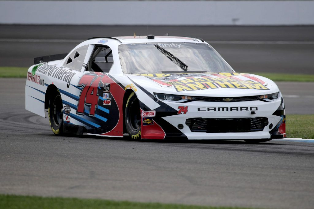 INDIANAPOLIS, INDIANA - JULY 03: Bayley Currey, driver of the #74 Stand For The Flag Chevrolet, races during practice for the NASCAR Xfinity Series Pennzoil 150 at the Brickyard at Indianapolis Motor Speedway on July 03, 2020 in Indianapolis, Indiana. (Photo by Chris Graythen/Getty Images)   Getty Images