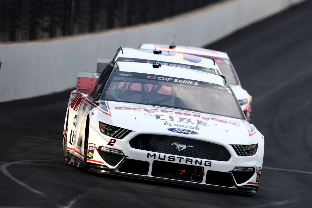 INDIANAPOLIS, INDIANA - JULY 05: Brad Keselowski, driver of the #2 Discount Tire Ford, races during the NASCAR Cup Series Big Machine Hand Sanitizer 400 Powered by Big Machine Records at Indianapolis Motor Speedway on July 05, 2020 in Indianapolis, Indiana. (Photo by Jamie Squire/Getty Images) | Getty Images