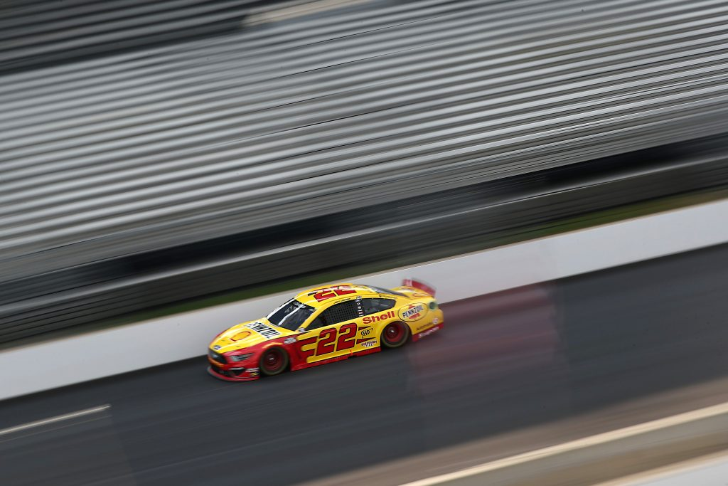 INDIANAPOLIS, INDIANA - JULY 05: Joey Logano, driver of the #22 Shell Pennzoil Ford, drives during the NASCAR Cup Series Big Machine Hand Sanitizer 400 Powered by Big Machine Records at Indianapolis Motor Speedway on July 05, 2020 in Indianapolis, Indiana. (Photo by Chris Graythen/Getty Images) | Getty Images